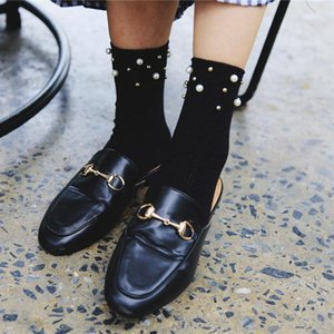 Fashion Design Luxury Pearl Short Socks Women Vintage Harajuku Short Socks Solid Cotton Funny Harajuku Art Female1