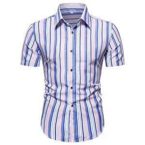 Chemise Mens Summer Bouton à rayures Type Type Shirt à manches courtes Vintage unique Simple Fit Top Homme Chemises Casual