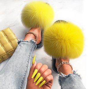 Diapositivas de piel de zorro real para mujeres zapatillas peluche peluche con piel de mapache femenino lindo diseñador mullido al por mayor flip chanclas zapatos 210225