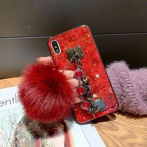 DIY diamond fur ball Strap Phone case For samsung Note20Plus S20Plus A51 A10 A20 A50 A60 A70 A80 Marble Epoxy Glitter Coque
