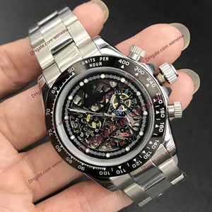 luxury watch 40mm Skeleton pattern. montre de luxe Mechanical Automatic 2813 Stainless Steel Watch. Ceramic Rim Waterproof Mens Watches
