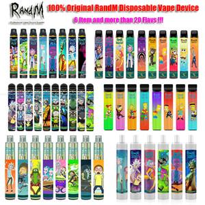 100 % Original Randm Max Dazzle Pro 스위치 2 in 1 일회용 vape 펜 포드 디바이스 키트 RGB 빛 r 및 m rm이있는 미리 프리 카트리지