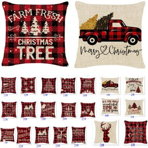 Christmas Pillow Cases Linen Buffalo Check Christmas Trees Truck And Reindeer Red Plaid Pillowcase Xmas Decor Throw Pillows Covers 25 style Free DHL HH21-561