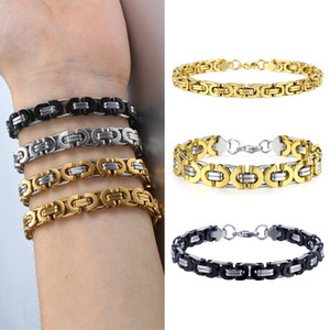 7 9 11mm Bracelet for Men Women Gold Black Silver Color Stainless Steel Flat Byzantine Link Chain Bracelet Jewelry Gifts LKBB1
