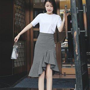 Skirts Irregular Plaid Fishtail Skirt Women's Summer 2021 Long High Waist Lotus Hip