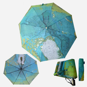 Creative Full Automatic Three-fold Blue Map Umbrella Rain Woman Personality Folding Ultra-light Sun Travel Man Anti-UV Umbrella BWD5075