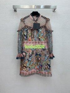 Yüksek Son Kadınlar Kız Gömlek Elbise Patchwork Mesh Nakış Geometrik Motif Moda Pist Özel Uzun Kollu A-Line Mini Etek Kadın Elbise