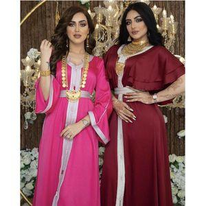 민족 의류 부드러운 새틴 V 넥 Jalabiya Hijab 드레스 여성 패션 리본 이슬람교 도바이 아랍어 모로코 Kaftan 프릴 짧은 케이프 슬리브