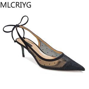 Mlcriyg puntiagudo punteado negro tacones altos estilete estilo de hadas 2021 primavera y verano nuevo lunares malla malla toe toe toe sandalias
