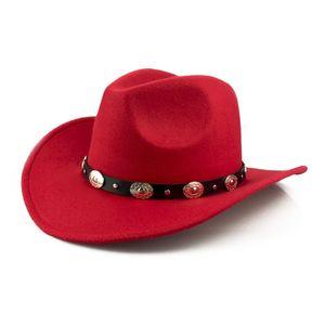 2021 Fashion Bestseller British Style Metal Belt Fur Felt Hat Retro Top Hat Wool Cowboy Hat