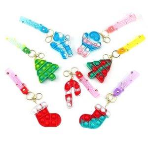 Christmas Push Poppers Bubbles Rainbow Fidget Toys Key Chain Camouflage Bubble Tie Dye Pendant Key Ring Decompression Toy Mini Pandents G01YTQF