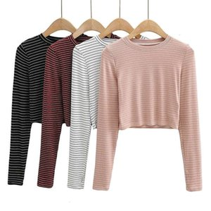 ins stripe bottoming Sexy leaky shirt trendy umbilical women's high crew neck short long sleeve T-shirt