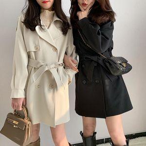 Women's Trench Coats 2021 Thickened Wool Coat Medium Long Autumn And Winter Waist Closing Temperament Korean Windbreaker Wholesale