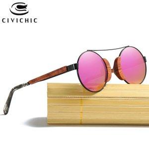 Civílicas retro de madera polarizadas ronda de sol gafas de sol bambú gafas mujeres diseñador de marca UV400 espejo Lente filmada Lente KD050 X0125