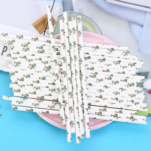 Disposable Paper Straws Creative Eco-friendly Colorful Drink Juice Party Bar Straws DIY Handmade Cake Decor FWF9050