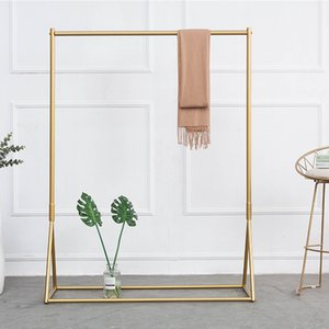 Golden clothing rack Iron floor hanger children's cloth shop clothing display racks women's clothing shop clothes racks Floor hanger 35 S2