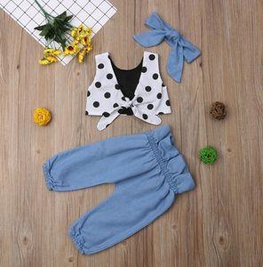 Girls' suit summer new Korean style sleeveless tube top polka dot blouse bow knot hair accessory pants girls set