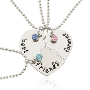 Creative Series Heart-shaped Pendant Good Friend Love Necklace Diamond Three Piece Splicing Set Chain Batch YN3L