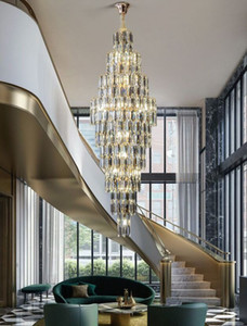 Smoke Gray Crystal Chandelier Deluxe Living Room Lamp Hotel Duplex Building Decorative Stair Long Chandelier