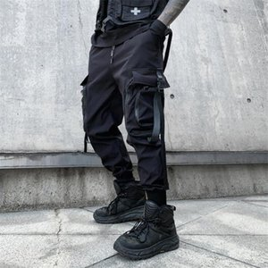 2021 Spring Autumn Ribbons Buckle Casual Cargo Pants Man Hip Hop Techwear Joggers Japanese Fashion Trousers Streetwear