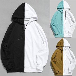 Outono moda homens patchwork hoodies manga longa capuz preto e branco meninos soltos hoodie superdimensionado cute streetwear