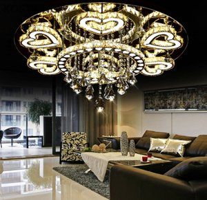 Luxury Modern Lustre De Cristal Ceiling Led Chrome Chandelier Mirror Steel Romantic Acrylic Heart Design Chandelier Light