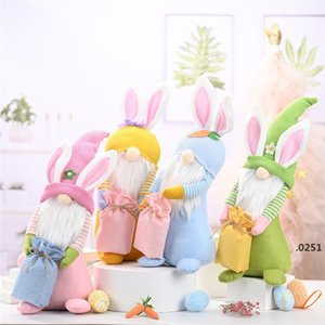 Easter Bunny Gnome Happy Easter Rabbit with a Knitted Bag Spring Kids Dwarf Doll Toys Home Table Top Decorative Ornament FWA3707