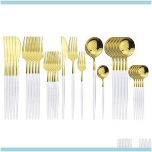 Sets Kitchen, Dining Bar & Garden30Pcs White Gold Cutlery 304 Stainless Steel Dinnerware Set Knife Dessert Fork Coffe Spoon Dinner Sierware