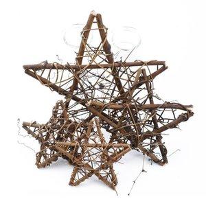 10 cm / 20 cm de ratán seco Marco de estrella de flores artificiales de la boda Decoración de Navidad para el hogar DIY Puerta hecha a mano Hangi Jllwku