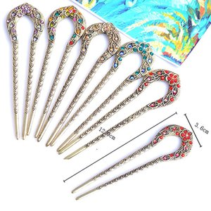 Vintage Antique Bronze Plated Hairpins U Shape Hair Stick Pin Women Rhinestone Flower Hair Jewelry Gift Women Accessories