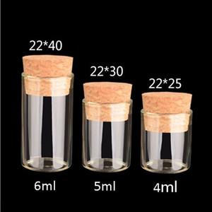 2021 Petit tube à essai avec bouchon de liège 4ml 5 ml 6 ml de bouteille d'épice de verre de verre bricolage bricolage bouteille de polissage en verre transparent gwa3778