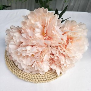 Five Head Peony Silk Fabric Simulation Peony Flowers Bridal Bouquet Fake Floral Wedding Party Decoration Red Pink DWD5035