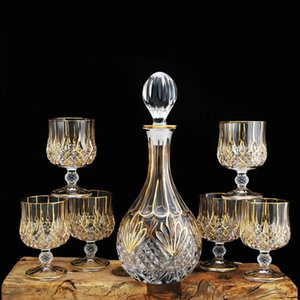 Hip Flasks Luxury Crystal Wine Decanter And Glass Goblet 7-piece Set Home Whiskey Brandy Cup Golden Rim Red Bottle