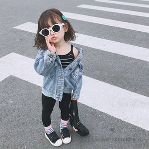 Fashion kids hole denim jacket boys lapel long sleeve casual outwear autumn children single breasted loose cowboy tops mommy and me matching clothing Q2201
