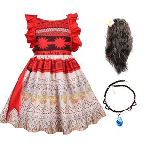 Halloween Dress Up Party Moana Costume Little Girl Summer Princess Fancy Clothes Children Vaiana Outfit for 3 5 6 8 10 Years Old 210226