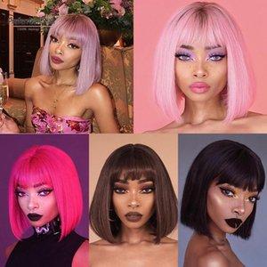 레이스 가발은 짧은 밥을 가진 짧은 밥을 선호합니다 브라질 레미 흑인 여성을위한 핑크 프론트 인간의 머리카락