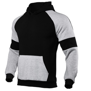 Mens Contrast Color Hoodies Pocket Long Sleeve Pullover Sweashirt Homme Hooded Clothes