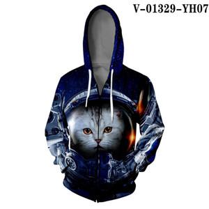 Kawaii Cat Zipper Jacket Hip Hop Street Coat Splice Color Print Star Cat 3D Harajuku Pussy Warm Zipper KIDS Hoodies Sweatshirt10