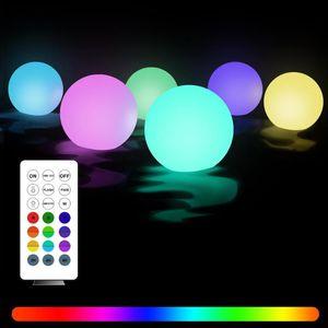 Boule légère de Noël, 3.1 pouces de piscine flottante, Changement de couleur RVB Changement de couleur LED lumières de nuit avec télécommande, accroché à la fête de jardin decorati