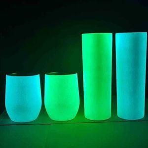Night Luminous 20oz Tumbler Bottles Glow in the Dark Skinny Straight Vacuum Thermos Mug Double Layers Stainless Steel Wine Beer Coffee Water Glass G75Z09M