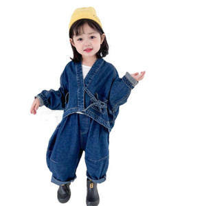 Denim Girls Outfits New Fashion Loose Kids Suits Jackets Coat+Jeans Harem Pants 2Pcs Children Clothing Spring 1-6Y SM049