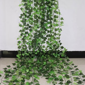 100pcs Leaves 1 piece 2.4M Home Decor Artificial Ivy Leaf Garland Plants Vine Fake Foliage Flowers Creeper 12 Strands