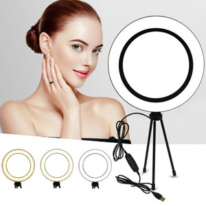 Photography LED Selfie Ring Light 26cm 16cm Dimmable 10inch USB Camera Phone Studio Ring Lamp With Tripods For Makeup Video Live