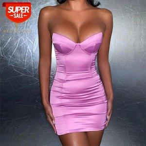 Streetwear Straplez Kadınlar Sıcak Elbise Zarif Geri Zip Draped Mini Kılıf Ince Elbise Mujer Parti Plaj Tatil Bodycon Elbiseler # OG5A