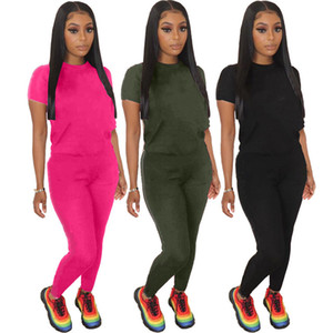 Womens tracksuits short sleeve Embroidery outfits 2 piece set sportswear casual sport suit new hot selling pantsuit womens clothing klw0645