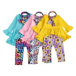 Ropa para niños Trajes de niñas Niños Bufanda + volante Flare Manga Top + Leopard Sunflower Tie Dye Pants 3pcs / sets Spring Autumn Baby Clothing Sets