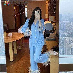 Edglulu Light синий воротник поворотный воротник с длинным рукавом + перья полные брюки Pajamas набор женщин весна осенний костюм черный белый 0303 210831