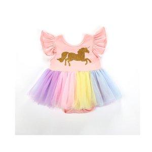 الفتاة فساتين 2021 لطيف جميل ولد طفل رضيع الفتيات البتلة كم س الرقبة الكرتون طباعة الوردي الملونة الدانتيل توتو الأميرة رومبير اللباس