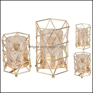 Décor & Gardengolden Iron Candle Holder European Geometric Candlestick Romantic Crystal Cup Home Decoration Table Holders Drop Delivery 2021