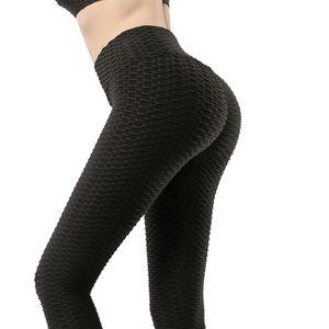 Йога Брюки Другие спортивные товары Женщины Tik Tok Leggings Пузырь текстурированные прикладом поднимаясь черный хх-большой
